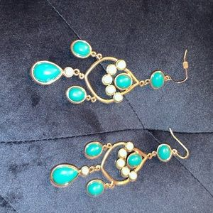 2/$15 silver turquoise colored stone earrings